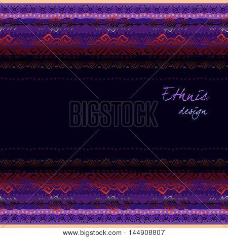Dark horizontal seamless border frame with tribal ornament ethnic stripes in black background. Geometric colorful design. Vector illustration stock vector.