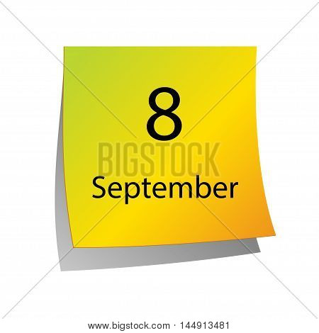 The eighth of September in Calendar icon on white background