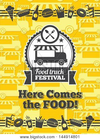 Food truck festival vector poster. Van truck food festival, cafe street food truck, sticker food truck festival. Vector illustration