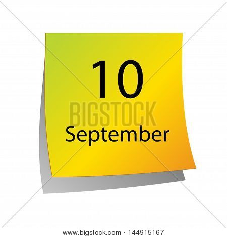 The tenth of September in Calendar icon on white background