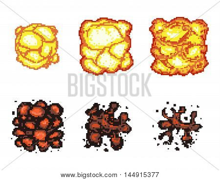 Video game explosion animation in pixel art. Explosion animation frames. Pixel explosion, bomb boom art pixel, flame animation pixel art. Vector illustration