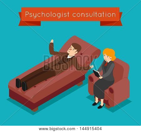 Psychologist consultation. Vector mental problems concept in 3D isometric style. Patient and mental therapy, problem psychologist, health psychology, consultation psychologist illustration