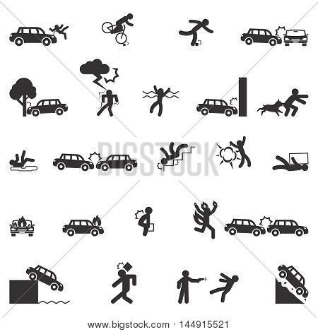 Accident icons vector set. Accident fire, accident transportation, disaster accident danger illustration