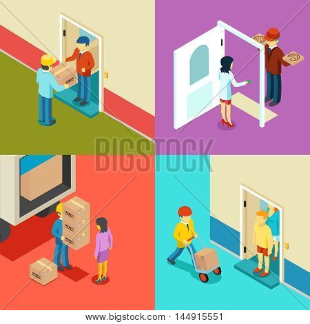 Fast delivery flat isometric vector concept. Fast service delivery, box deliver 3d illustration