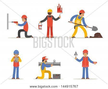 Construction worker, architect and engineer vector character. Architect man, worker man, handyman or craftsman, plumber worker, plasterer worker illustration