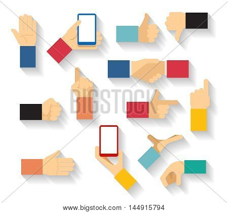Hand gestures vector. Hand finger, thumb hand, palm hand, finger pointer illustration