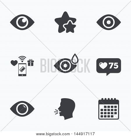 Eye icons. Water drops in the eye symbols. Red eye effect signs. Flat talking head, calendar icons. Stars, like counter icons. Vector