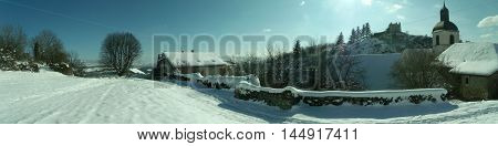 Winter Snow Landscape Alps Mountains Road Panoramic View