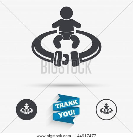 Fasten seat belt sign icon. Child safety in accident. Flat icons. Buttons with icons. Thank you ribbon. Vector