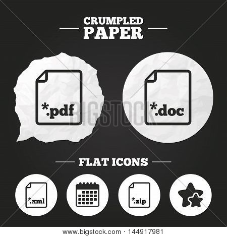 Crumpled paper speech bubble. Download document icons. File extensions symbols. PDF, ZIP zipped, XML and DOC signs. Paper button. Vector