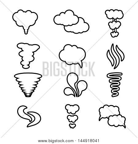 Steam, cloud and smoke vector icons set. Cloud abstract shape, flow smoke cloud, outline contour cloud air illustration