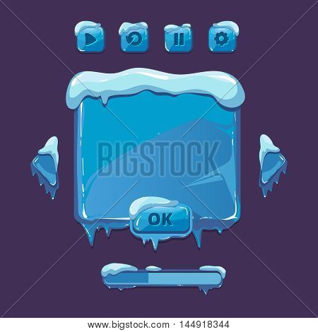User vector interface for winter game. UI elements with icicles. game interface winter, winter user button, ice snow winter interface, gui winter illustration