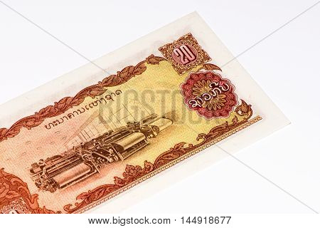 20 kip bank note. Kip is the national currency of Laos.