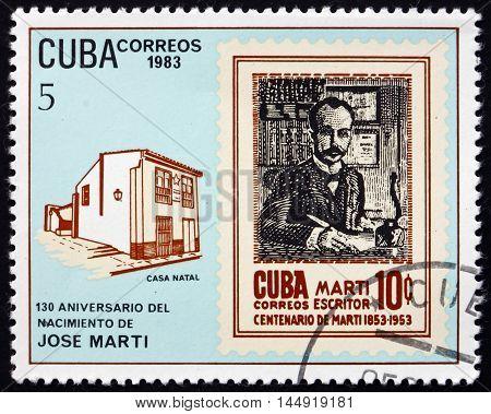 CUBA - CIRCA 1983: a stamp printed in Cuba shows Jose Marti Writer and Revolution Leader circa 1983