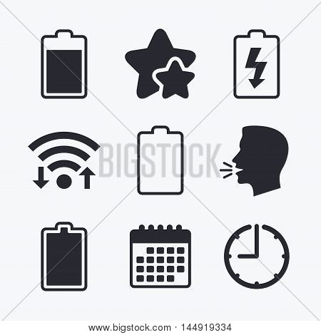Battery charging icons. Electricity signs symbols. Charge levels: full, empty. Wifi internet, favorite stars, calendar and clock. Talking head. Vector