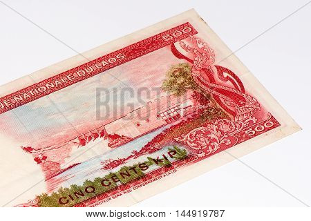 500 kip bank note. Kip is the national currency of Laos.