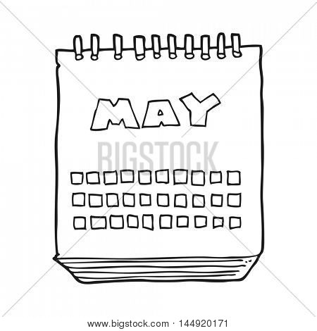freehand drawn black and white cartoon calendar showing month of may