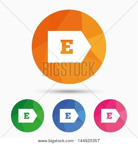 Energy efficiency class E sign icon. Energy consumption symbol. Triangular low poly button with flat icon. Vector