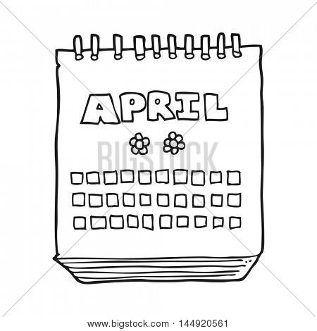 freehand drawn black and white cartoon calendar showing month of April