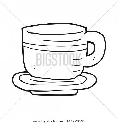freehand drawn black and white cartoon cup and saucer
