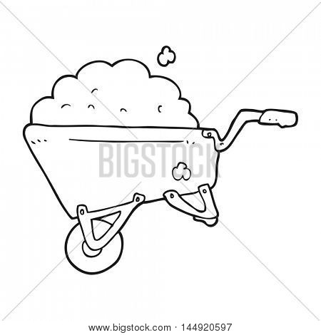 freehand drawn black and white cartoon wheelbarrow full of dirt