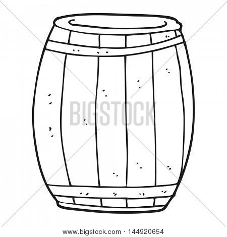 freehand drawn black and white cartoon barrel