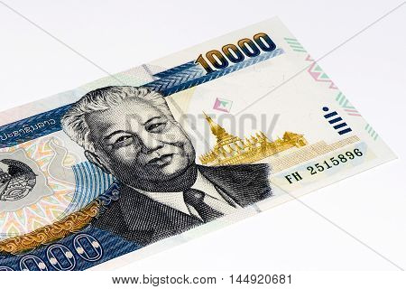 10000 kip bank note. Kip is the national currency of Laos.