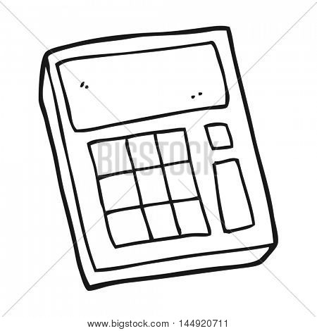 freehand drawn black and white cartoon calculator