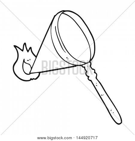 freehand drawn black and white cartoon magnifying glass burning