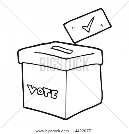 freehand drawn black and white cartoon ballot box
