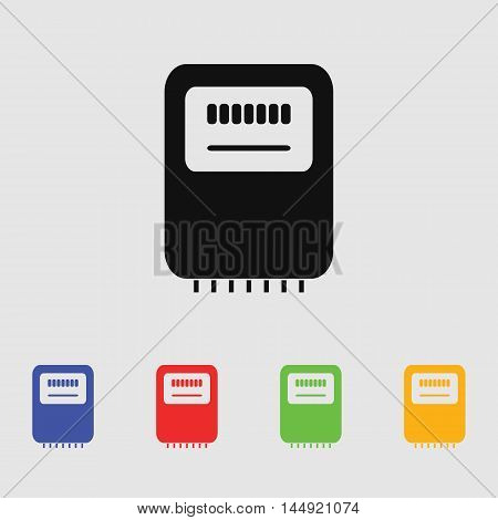 Electricity power counter icon. Measurement sign. Three-phase. Vector