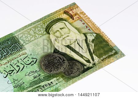 1 Jordanian dinar bank note. Jordanian dinar is the national currency of Jordan
