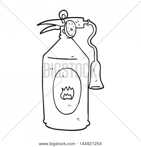 freehand drawn black and white cartoon fire extinguisher
