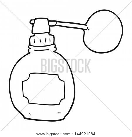 freehand drawn black and white cartoon perfume bottle