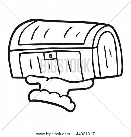 freehand drawn black and white cartoon treasure chest