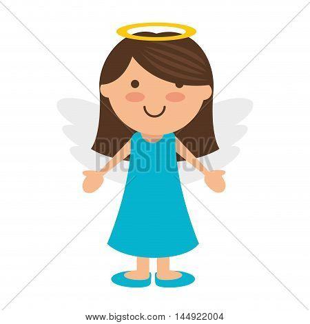 angel cartoon little girl wing halo heaven vector illustration