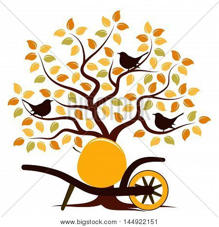 vector autumn tree with birds and hand barrow with one big apple isolated on white background