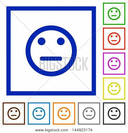 Set of color square framed Neutral emoticon flat icons
