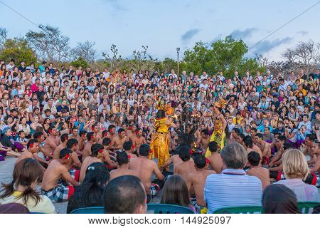 Bali Island, Indonesia - August 25, 2008: Women Dressed In Sarong Dancing Traditional Temple Dance N