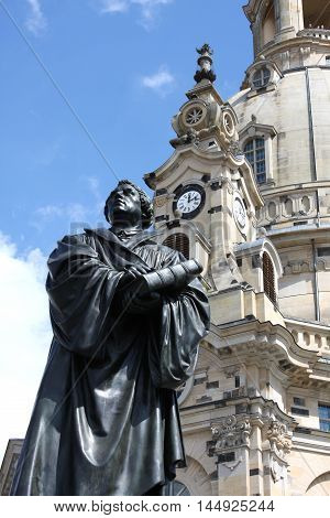 Statue of Martin Luther in front of the Frauenkirche in Dresden Germany.
