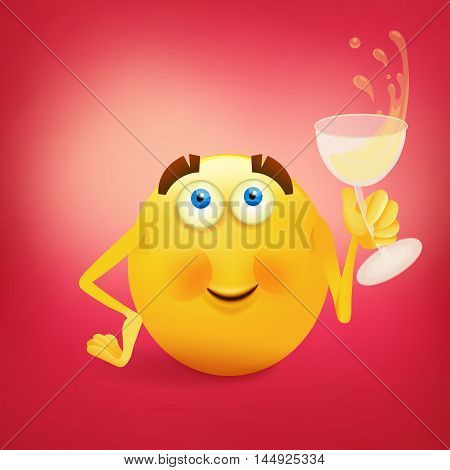Funny yellow smiling face with glass of wine. Vector illustration