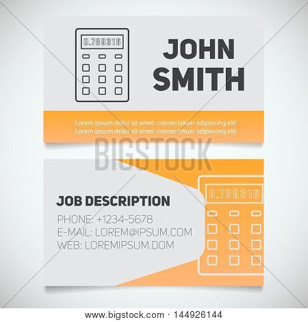 Business card print template with calculator logo. Easy edit. Manager. Accountant. Bookkeeper. Stationery design concept. Vector illustration