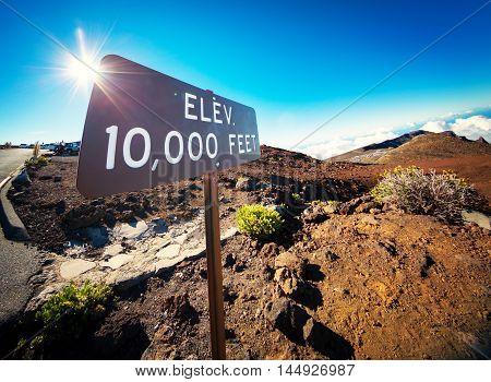 Elevation Sign at the Summit of Haleakala, Maui, Color Image