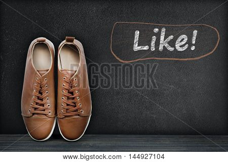 Like text on black board and shoes