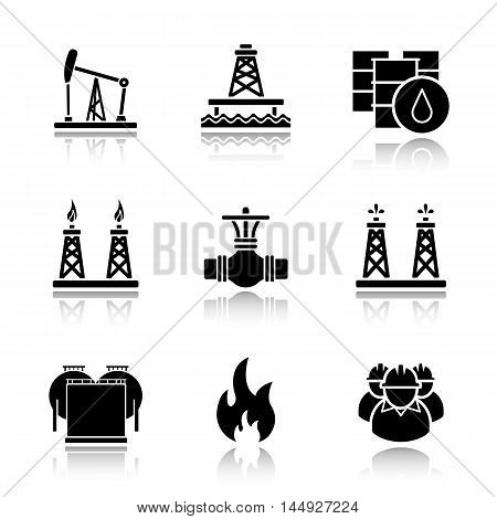 Oil industry drop shadow black icons set. Pump jack, barrels, pipe valve, gas and fuel production platforms, oil reservoir, flammable sign, industrial workers. Isolated vector illustrations