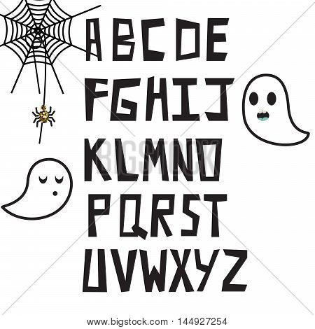 Hand drawn alphabet rough bluff letters with spooky clip art for posters.