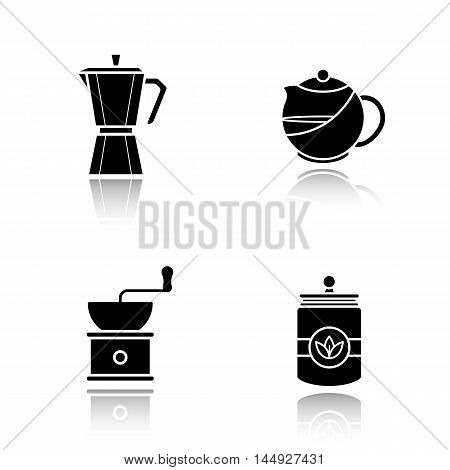 Tea and coffee drop shadow black icons set. Tea infuser kettle and jar, moka pot, coffee beans grinder. Isolated vector illustrations