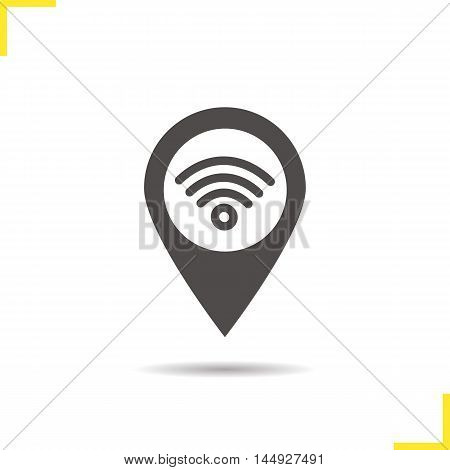 Wifi hotspot icon. Drop shadow silhouette map pointer symbol. Pinpoint with wi fi network signal inside. Internet geolocation mark. Vector isolated illustration
