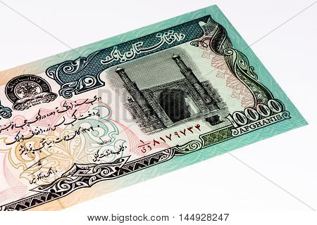 10000 afghani bank note. Afghani is the national currency of Afghanistan