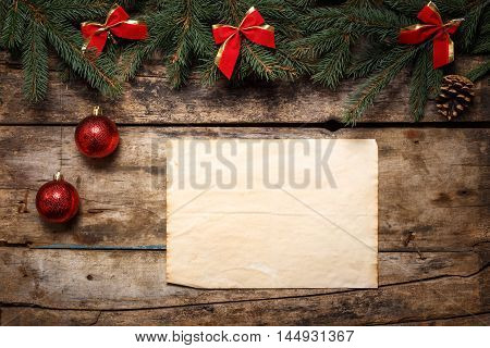 Christmas Fir Tree Frame With Vintage Paper Background